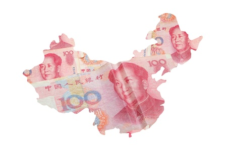 made in china: China Map made by Chinese Money (Yuan) currency with smile face