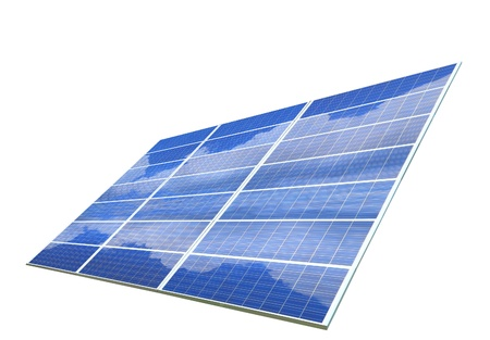 solar array: Solar Panel with blue sky and white cloud reflection