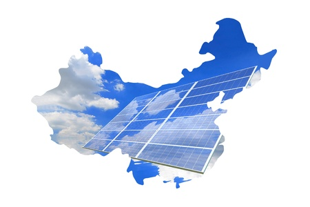 China Map made by solar cell panel and blue sky