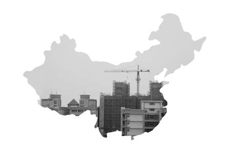 developing china image (China Map made by constructed building) photo