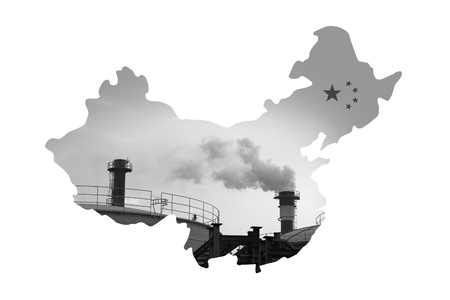 China Map made by pollution smokestack, For environment issue Stock Photo