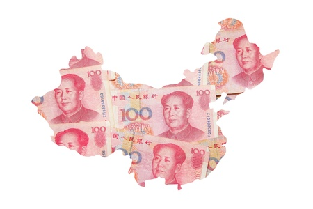 China Map made by Chinese Money (Yuan) currency photo