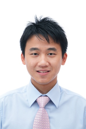 asian man face: Face of asian business man with friendly smile