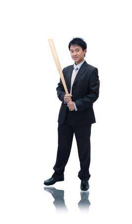 hitter: Asian Business man holding baseball bat
