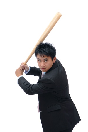 Business man holding baseball bat ready for a hit photo