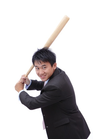 Business man take baseball bat with friendly smile ready for a good hit photo
