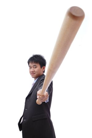 Business asian man take baseball bat with confident face photo