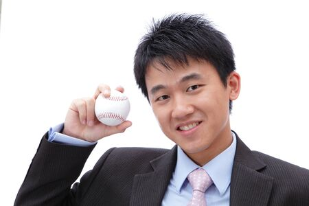 Business Man Take baseball in the hand with smile photo