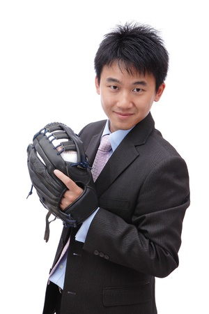 Young Business Man pitching baseball on isolated white background photo