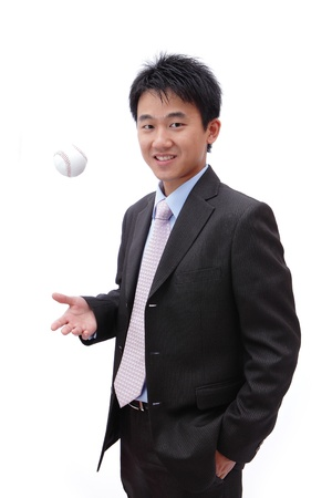 successful business man with baseball photo