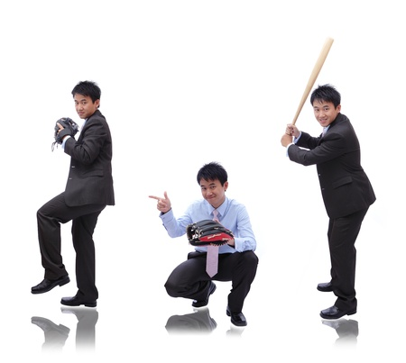 Business man ( pitcher, catcher and batter) photo