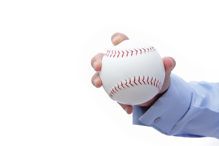Business man hand holding a baseball Stock Photo - 11343923