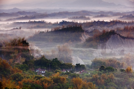 Amazing Beautiful cloud, fog and mist with yellow bamboo and hill photo