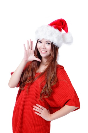 Young happy Christmas girl smile isolated on white background