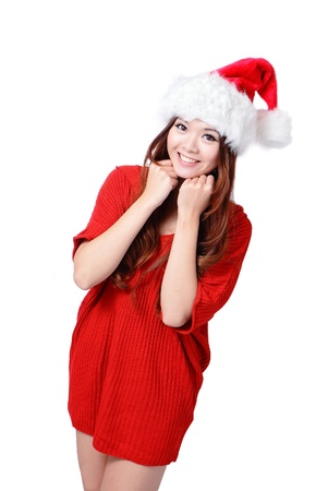 Young happy Christmas girl smile isolated on gray background Stock Photo - 11561134