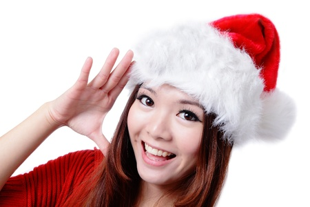 Young Happy Girl Say Hello with Christmas hat and red cloth Stock Photo - 11561198