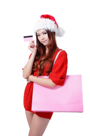 Beauty Girl Take Pink Credit Card and Blank Shopping Bag, Beautiful and cute Asian female model photo