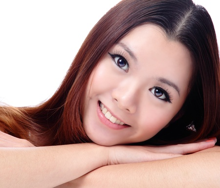 Asian beauty skin care Girl smiling close-up, Beautiful young woman touching her face looking to the side. Isolated on white background photo