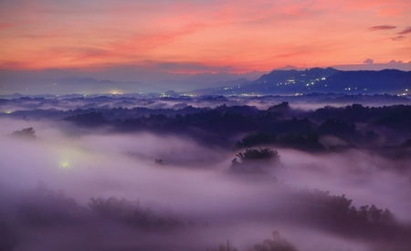 Beautiful sea of cloud with mountains