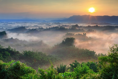 Sunshine with mountain , cloud and fog in the morning Stock Photo