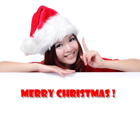Happy Girl with Text 'Merry Christ', Model is a cute asian beauty,  isolated on white background photo