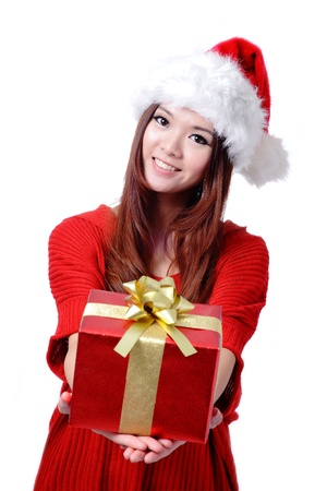 christmas girl: Christmas Girl Smile Holding Gift Box, Model is a cute Asian beauty,  isolated on white background Stock Photo