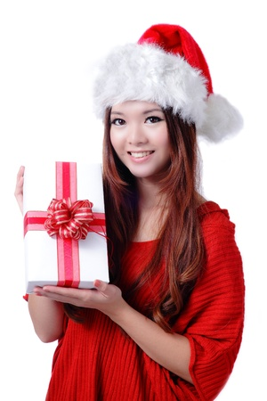 Christmas Girl Smile Holding Gift Box, Model is a cute Asian beauty,  isolated on white background Stock Photo - 11561162