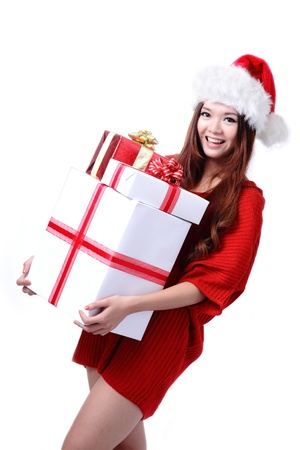 Christmas Girl Smile Holding Gift Box, Model is a cute Asian beauty,  isolated on white background Stock Photo - 11561154
