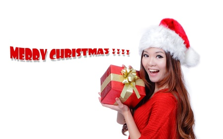 Christmas Girl Smile Holding Gift Box, Model is a cute Asian beauty,  isolated on white background photo