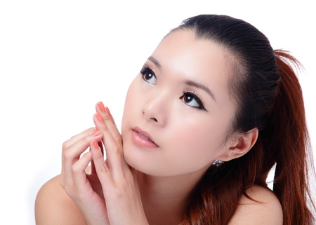 Asian beauty skin care (Spa) woman face close-up, Beautiful young woman looking up. Isolated on white background