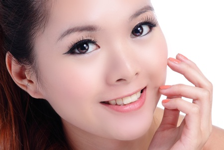 Asian beauty skin care woman smiling close-up, Beautiful young woman touching her face looking to the side. Isolated on white background Stock Photo - 11561077