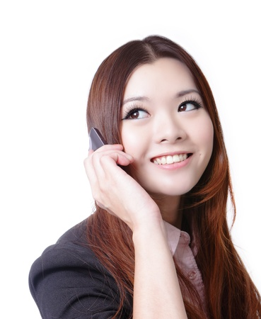 Young Business woman happy speaking mobile phone isolated on white background, model is a asian beauty Stock Photo - 11720496