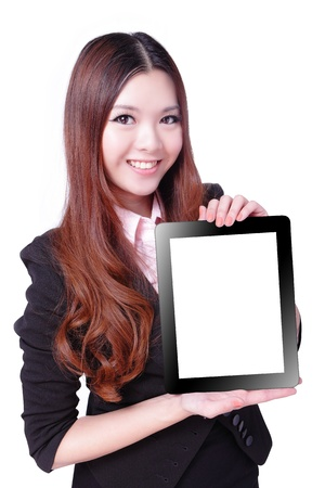 Business woman smile and showing tablet pc isolated on white background, model is a asian beauty photo