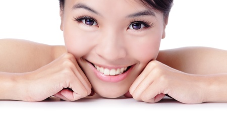 Portrait of beautiful girl touching her pretty face with healthy skin - white background, model is a asian beauty photo