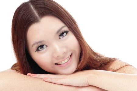 Asian beauty skin care woman face, Beautiful young woman touching her face looking to the side. Isolated on white background photo