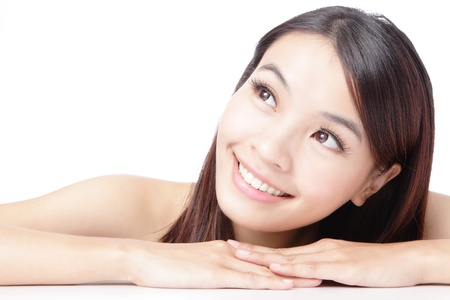 Beautiful asian woman smile face isolated on white background photo