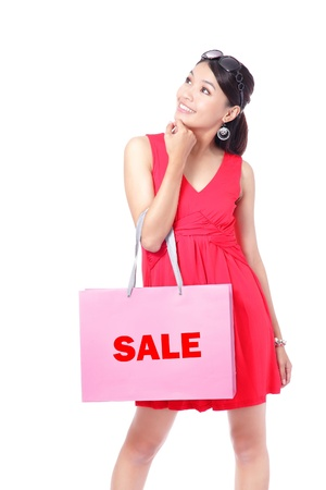 asian shopper: Happy Shopping Girl Holding bag isolated on white background, Model is a asian beauty