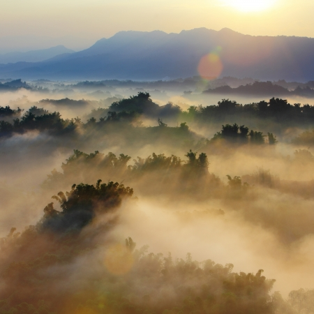 fog: Sunshine with mountain , cloud and fog in the morning Stock Photo