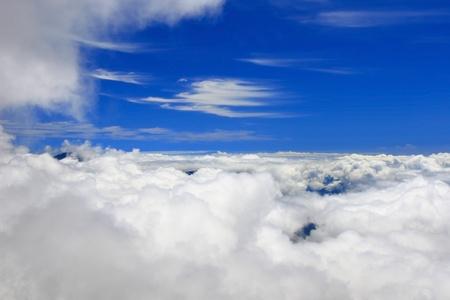 algodon de azucar: Aves vista de la nube blanca y el cielo azul