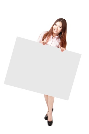 Young Business Woman Happy Smile Showing blank billboard isolated on white background, Model is a asian beauty Stock Photo