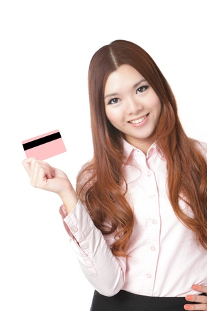 card payment: Young Business woman smile and take credit card isolated on white background, Model is a asian beauty