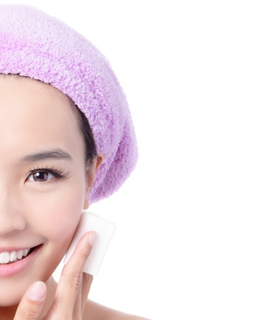 remover: Young Beautiful Girl remove makeup by Cleansing Cotton isolated on white background, Model is a asian Beauty