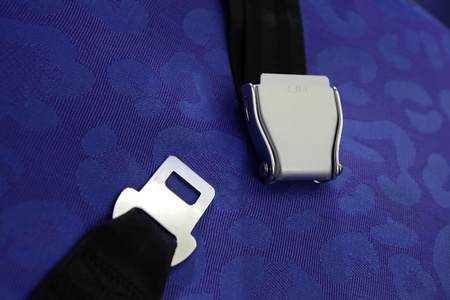 seat belt with blue background shot in airplane photo