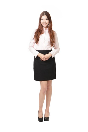 Full length of pretty business woman smile standing isolated on white background, model is a asian female Stock Photo