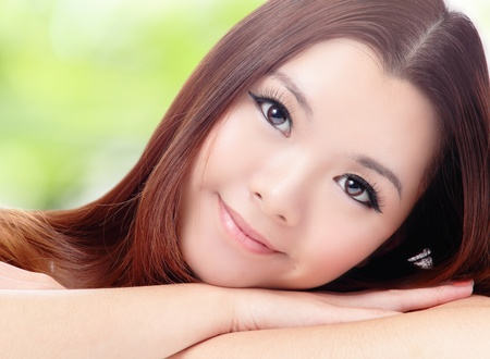 Close up of beautiful asian woman face with green background photo
