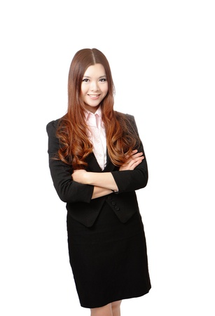 Smiling business woman. Isolated over white background, model is a asian beauty Stock Photo - 11966936