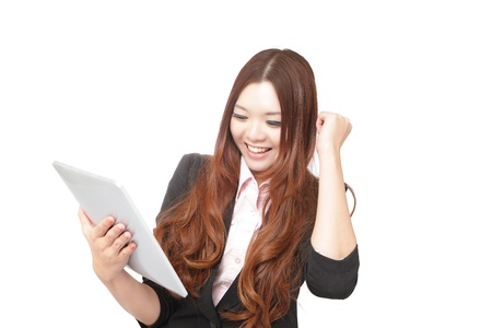 Tablet computer woman looking excited at touchpad pc screen . Fresh energy photo of beautiful asian young woman Stock Photo