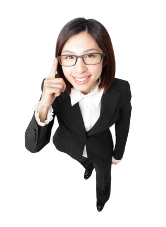 Successful business woman touch eye eyeglasses with smile , full length portrait view from high angle isolated on white background. Stock Photo - 12033990