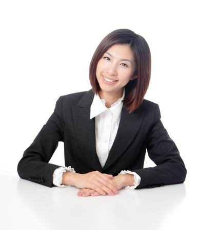 Smile business woman with white background, model is a asian beauty