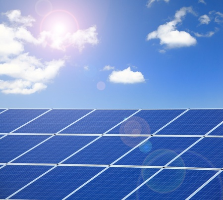 Solar Panel with sunlight and blue sky background Stock Photo - 12209121